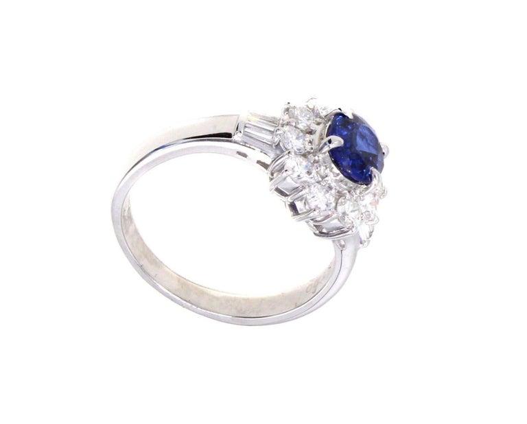Women's or Men's Sapphire Diamond Platinum Engagement Ring For Sale