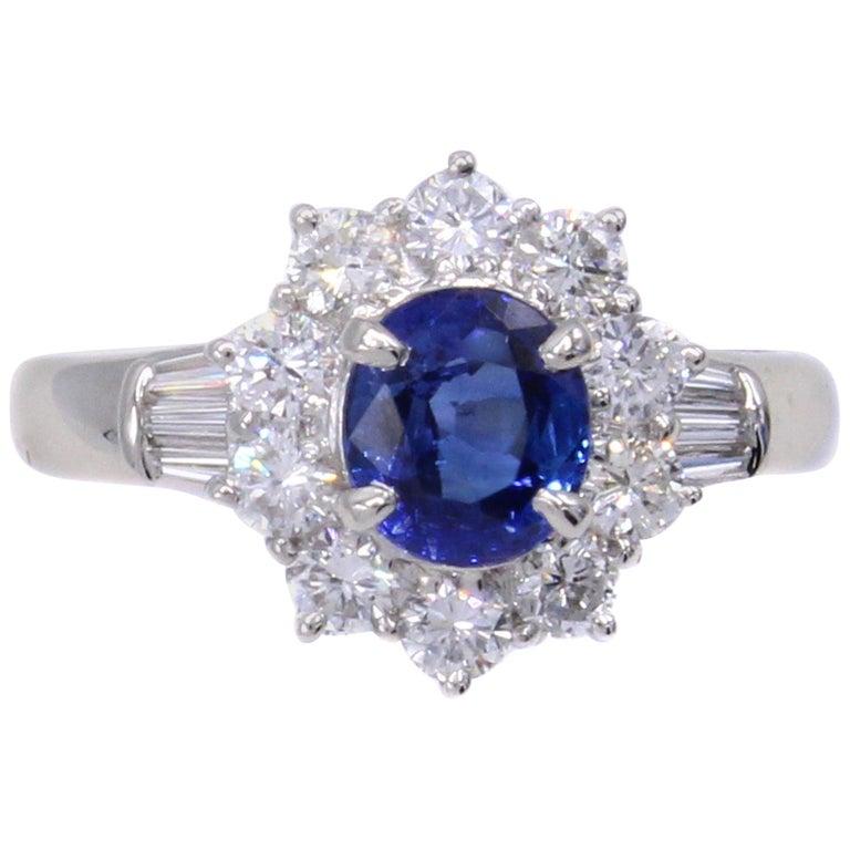 Sapphire Diamond Platinum Engagement Ring For Sale