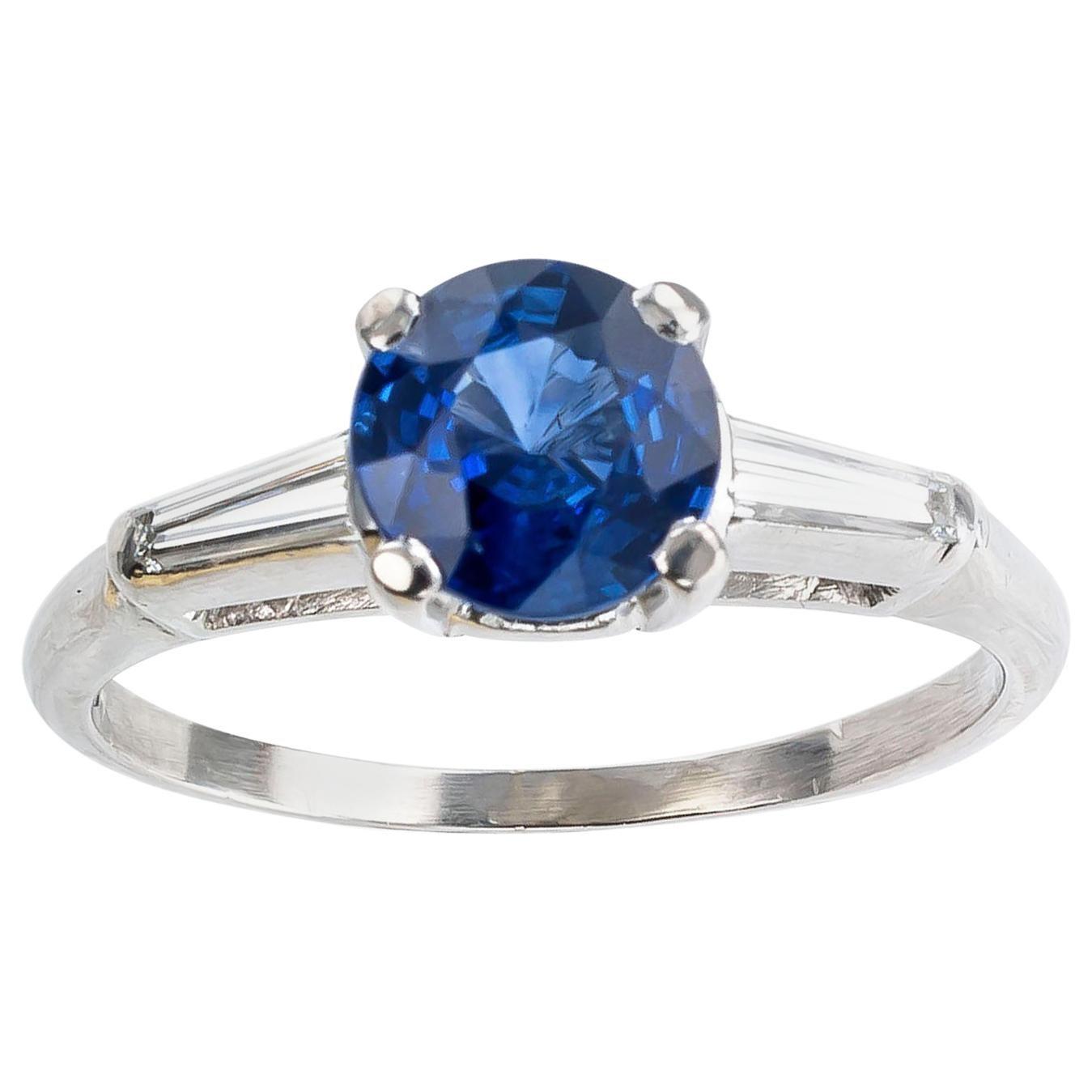 Sapphire Diamond Platinum Engagement Ring