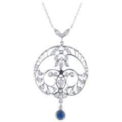Sapphire Diamond Platinum Filigree Art Deco Drop Pendant Necklace