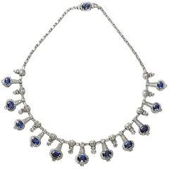 Sapphire Diamond Platinum Fringe Necklace