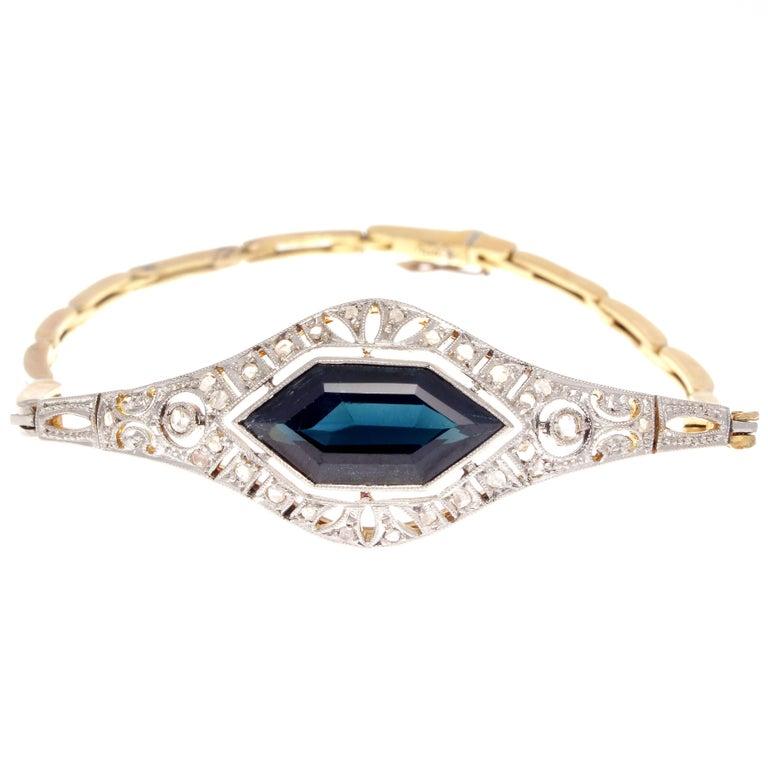 Sapphire Diamond Platinum Gold Bracelet