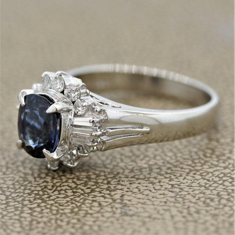 Oval Cut Sapphire Diamond Platinum Ring For Sale