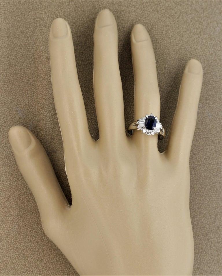 Sapphire Diamond Platinum Ring For Sale 3