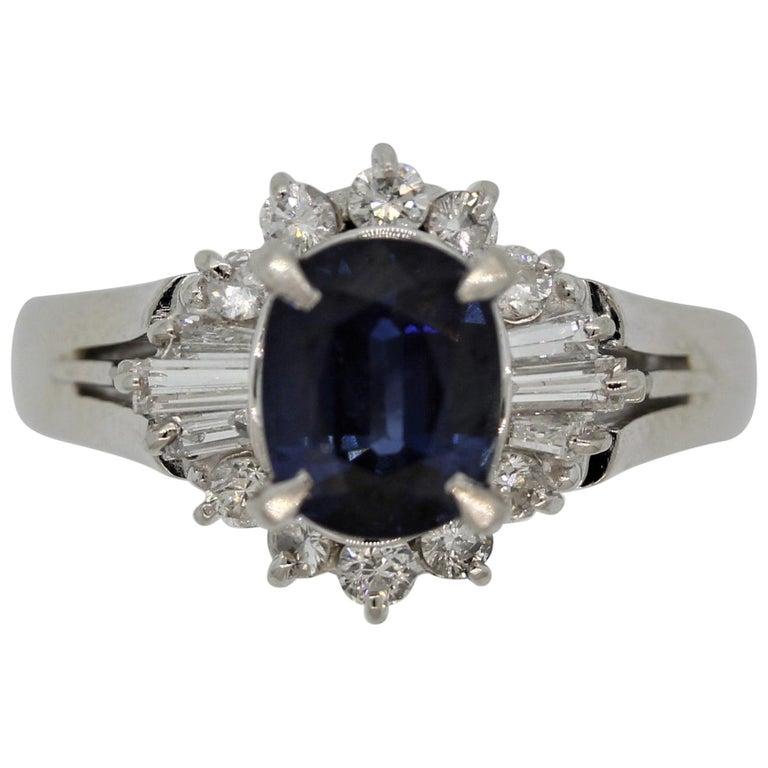 Sapphire Diamond Platinum Ring For Sale