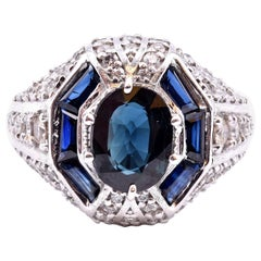 Sapphire and Diamond Platinum Ring