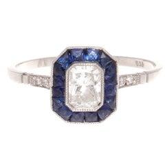 Sapphire Diamond Platinum Ring