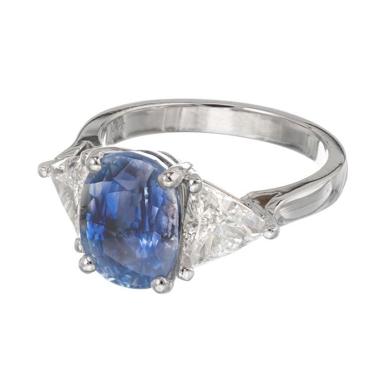 Women's Sapphire Diamond Platinum Three-Stone Engagement Ring For Sale