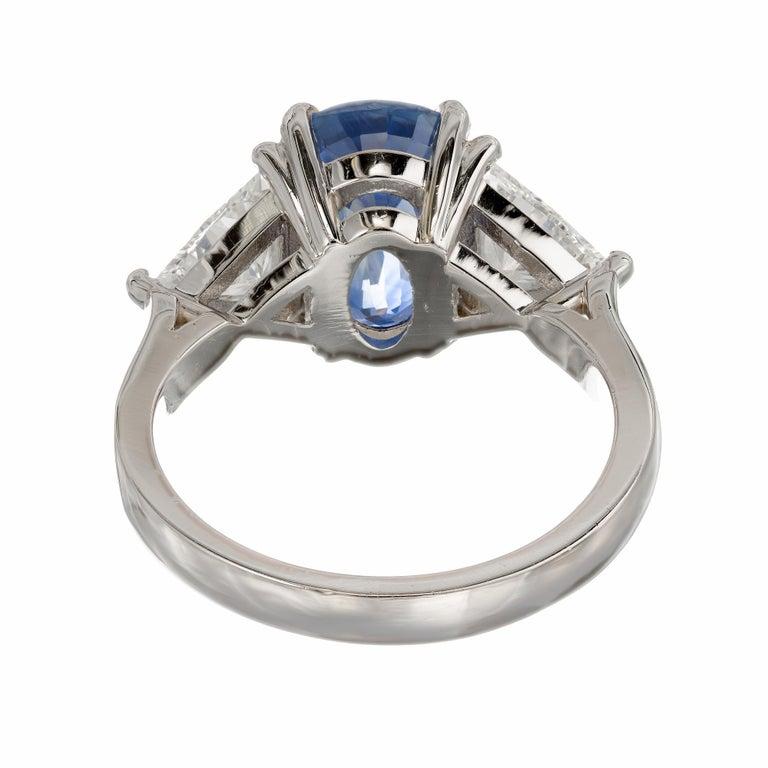 Sapphire Diamond Platinum Three-Stone Engagement Ring For Sale 2