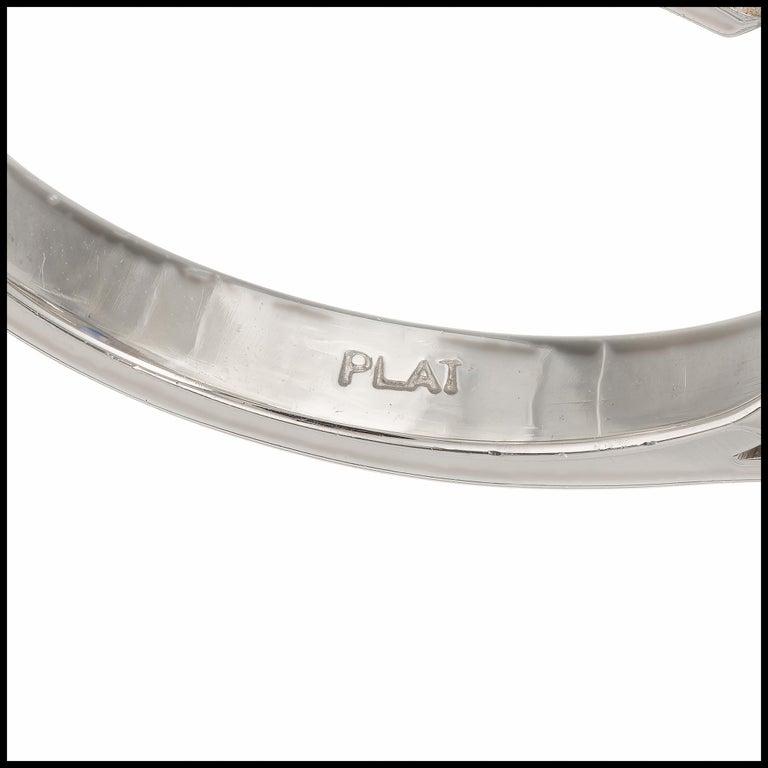 Sapphire Diamond Platinum Three-Stone Engagement Ring For Sale 3