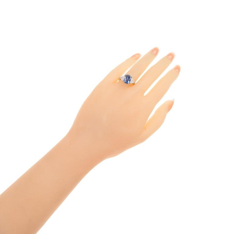 Sapphire Diamond Platinum Three-Stone Engagement Ring For Sale 4