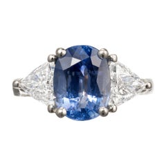 Sapphire Diamond Platinum Three-Stone Engagement Ring