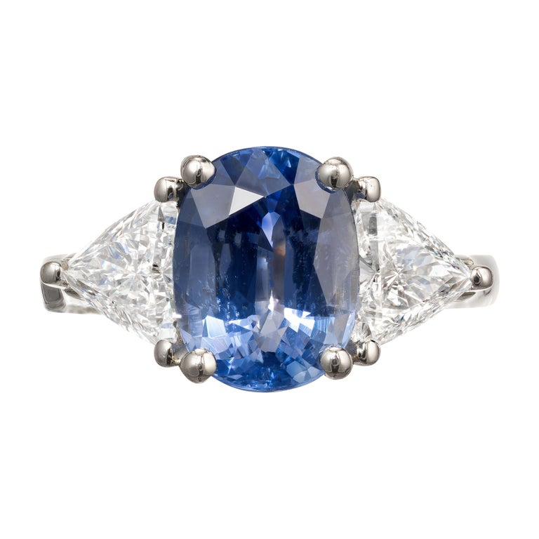 Sapphire Diamond Platinum Three-Stone Engagement Ring For Sale