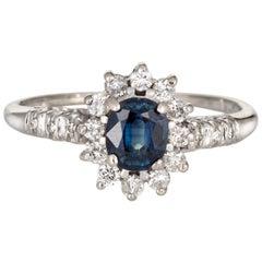 Sapphire Diamond Princess Ring Estate 14 Karat White Gold Gemstone Engagement