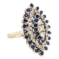 Sapphire Diamond Pyramid White Gold Cocktail Ring