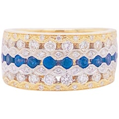 Sapphire Diamond Ring, Blue Sapphire, 14 Karat Yellow and White Gold, Cigar Band