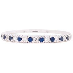 Sapphire Diamond Ring, Blue Sapphire, 14 Kt White Gold, Stackable Band, Classic