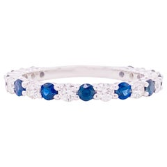 Sapphire Diamond Ring, Blue Sapphire, 18 Karat White Gold, Stackable Band