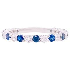Sapphire Diamond Ring, Blue Sapphire, 18 Karat White Gold, Stackable Band