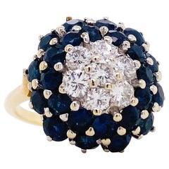 Sapphire Diamond Ring, Blue Sapphire Cluster Ring, Yellow Gold, circa 1975