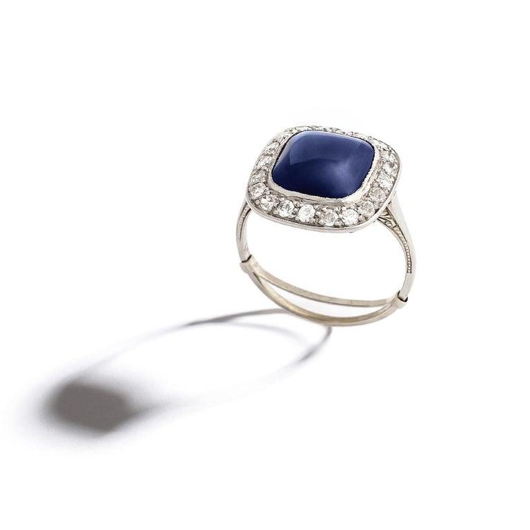 Cabochon Sapphire Diamond Ring