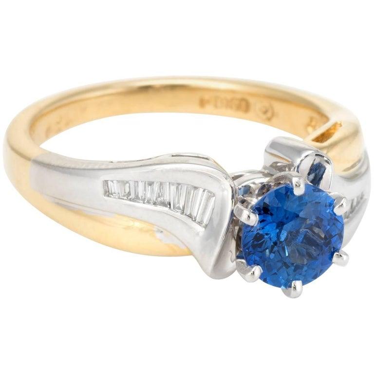 fe7ee20c3 Sapphire Diamond Ring Vintage 18 Karat Gold Platinum at 1stdibs