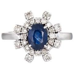 Sapphire Diamond Ring Vintage 18 Karat White Gold Cocktail Jewelry Estate Fine
