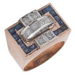Sapphire Diamond Rose Gold Ring