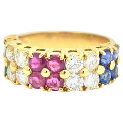 Sapphire, Diamond, Rubies and Emerald Tutti Frutti Ring in 18 Karat Yellow Gold