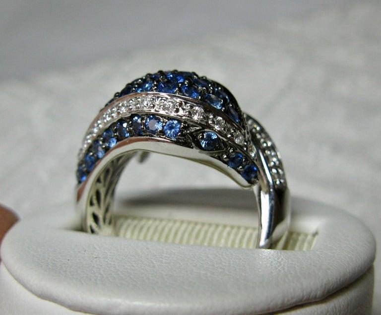 Sapphire Diamond Snake Ring 18 Karat White Gold Serpent Retro For Sale 4