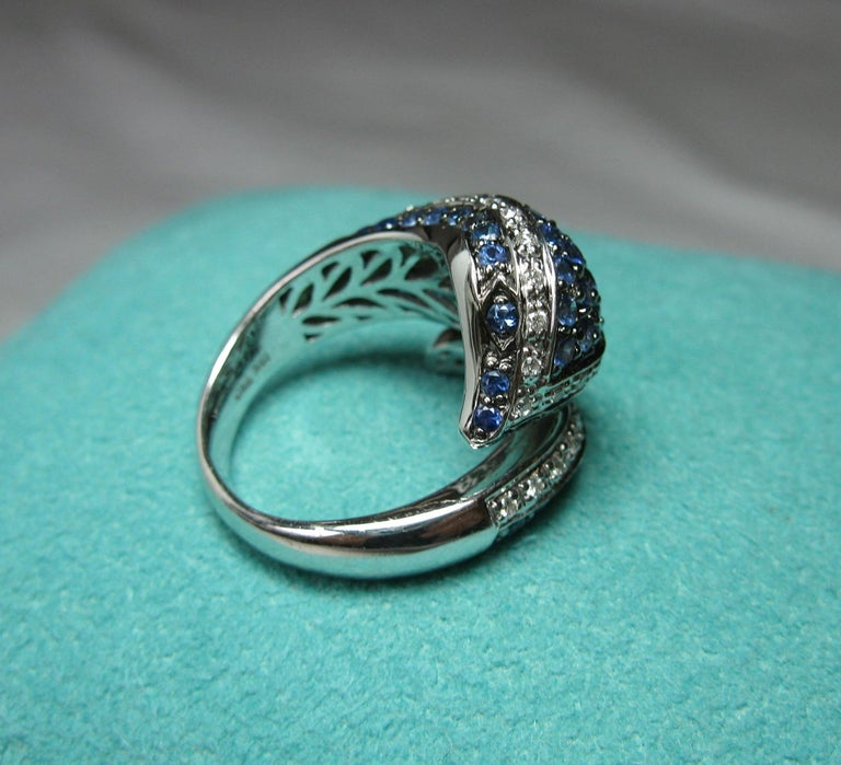 Sapphire Diamond Snake Ring 18 Karat White Gold Serpent Retro For Sale 5