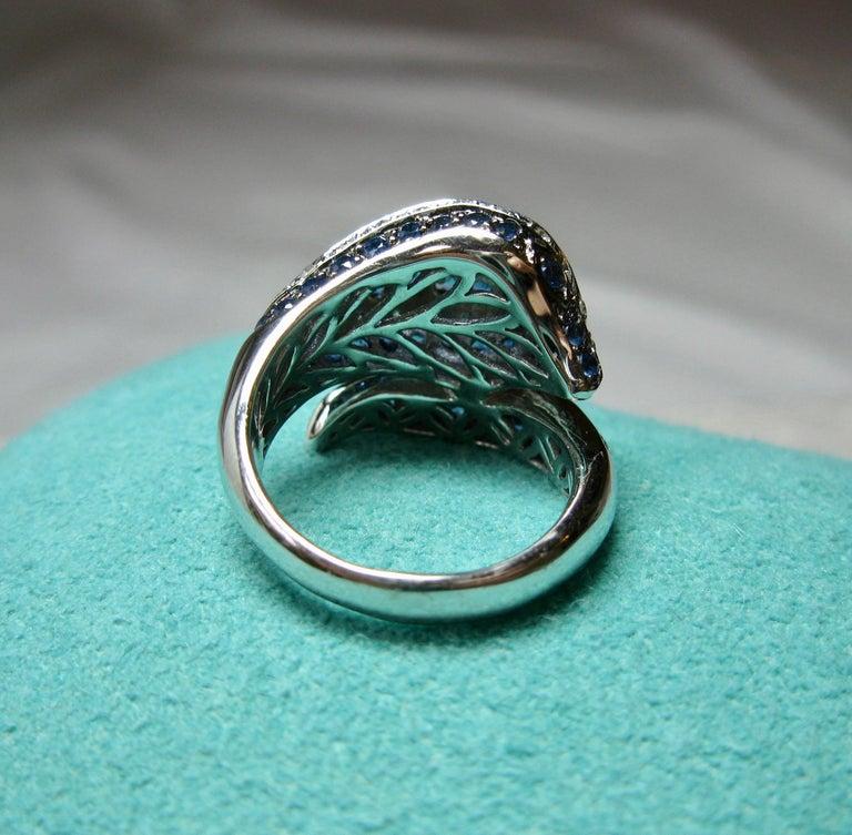 Sapphire Diamond Snake Ring 18 Karat White Gold Serpent Retro For Sale 7