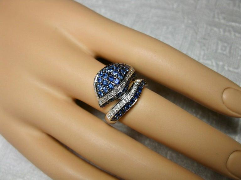 Contemporary Sapphire Diamond Snake Ring 18 Karat White Gold Serpent Retro For Sale