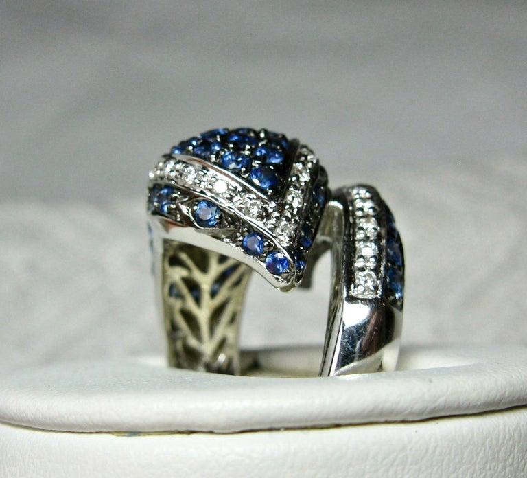 Sapphire Diamond Snake Ring 18 Karat White Gold Serpent Retro For Sale 1