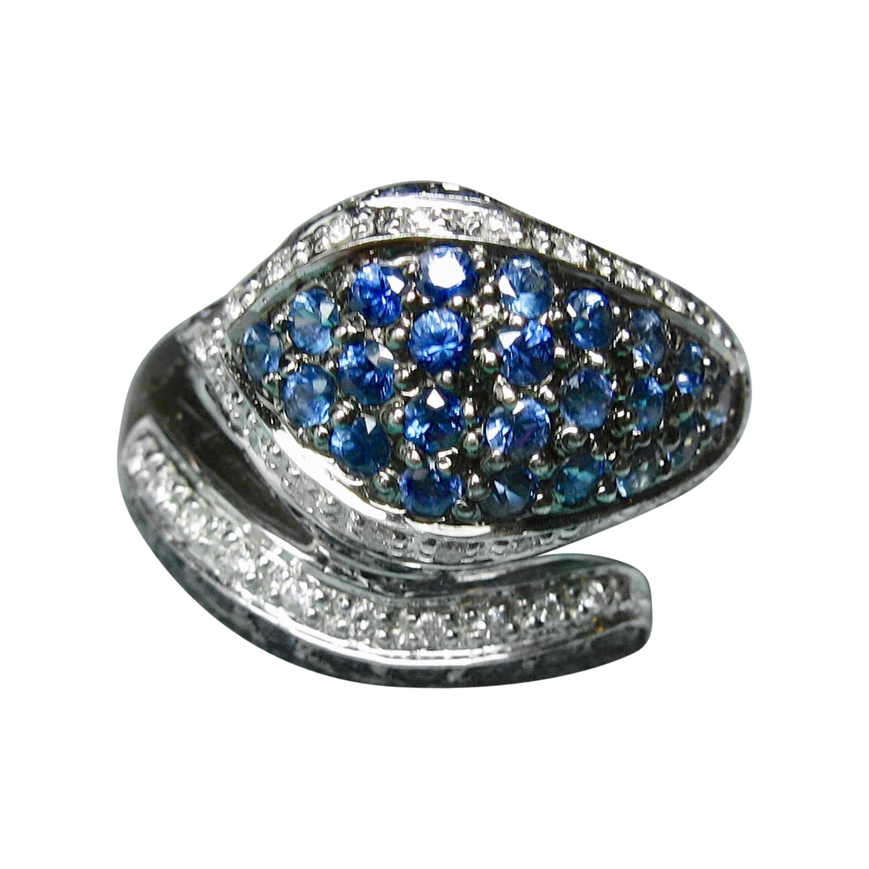 Sapphire Diamond Snake Ring 18 Karat White Gold Serpent Retro