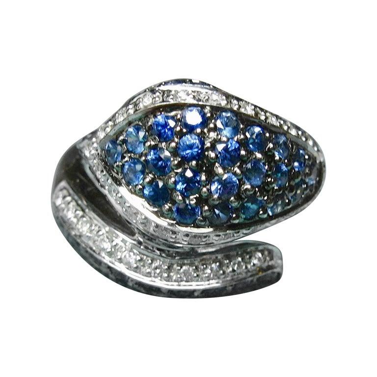 Sapphire Diamond Snake Ring 18 Karat White Gold Serpent Retro For Sale
