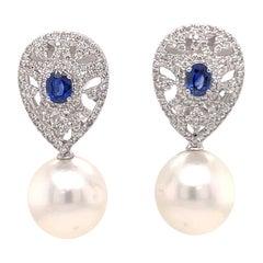 Sapphire Diamond South Sea Pearl Drop Earrings 2.16 Carats 18 Karat White Gold