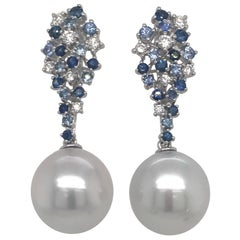 Sapphire Diamond South Sea Pearl Earrings 1.50 Carat 18 Karat White Gold