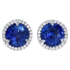 Sapphire Diamond Stud Earrings 2.19 Carat