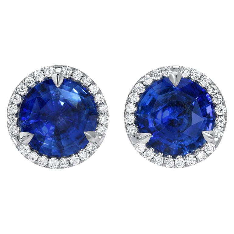 Sapphire Diamond Stud Earrings 2.19 Carat For Sale