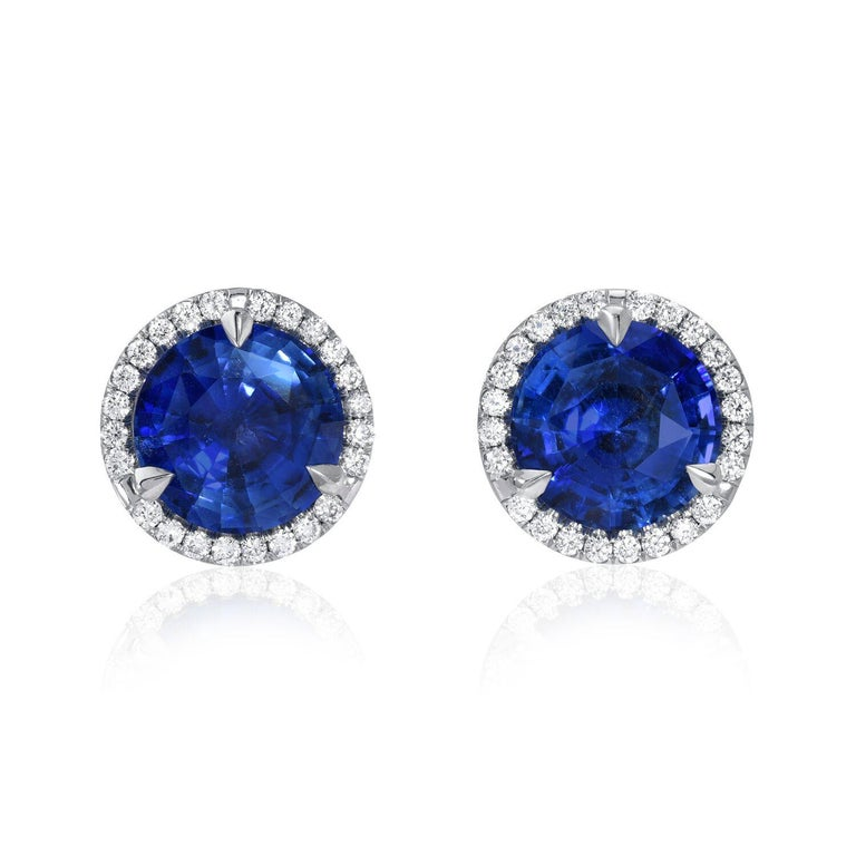 Modern Sapphire Diamond Stud Earrings 2.19 Carat For Sale