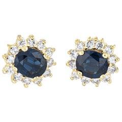 Sapphire Diamond Stud Earrings Vintage 14 Karat Gold Estate Fine Jewelry Oval