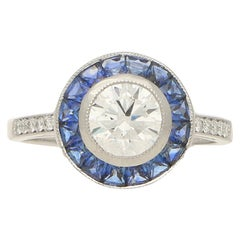 Art Deco Style Sapphire and Diamond Target Engagement Ring in Platinum