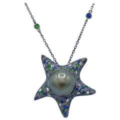 Sapphire Diamond Tsavorite Tahitian Pearl 18Kt Gold Starfish Pendant Necklace
