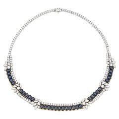 Sapphire & Diamond Two Row Necklace