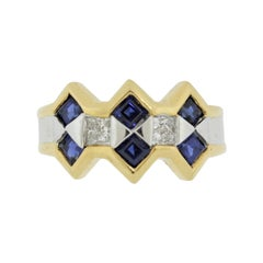 Sapphire Diamond Two-Tone Gold Ring