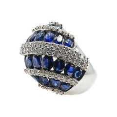 Sapphire Diamond White Gold Bombe Ring