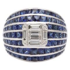 Sapphire Diamond White Gold Bombé Ring
