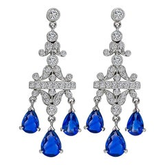 Sapphire Diamond White Gold Chandelier Earrings
