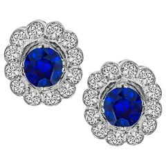 Sapphire Diamond White Gold Cluster Earrings